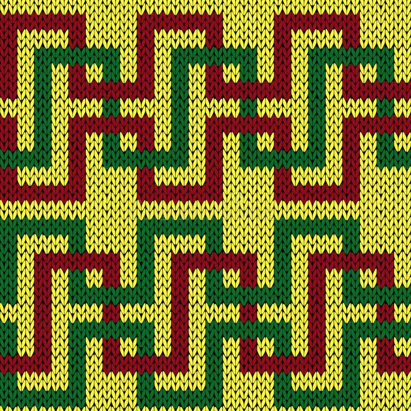 Modèle tricoté sans couture avec les lignes s'entrelaçantes illustration de vecteur