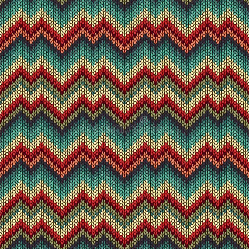 Modèle tricoté sans couture de rétro style illustration stock