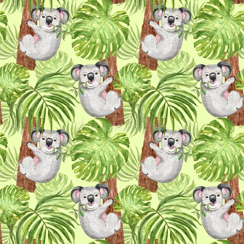 Modèle tropical à la mode d'aquarelle avec le koala, la paume et la feuille peints à la main de monstera sur le fond vert Copie b illustration de vecteur