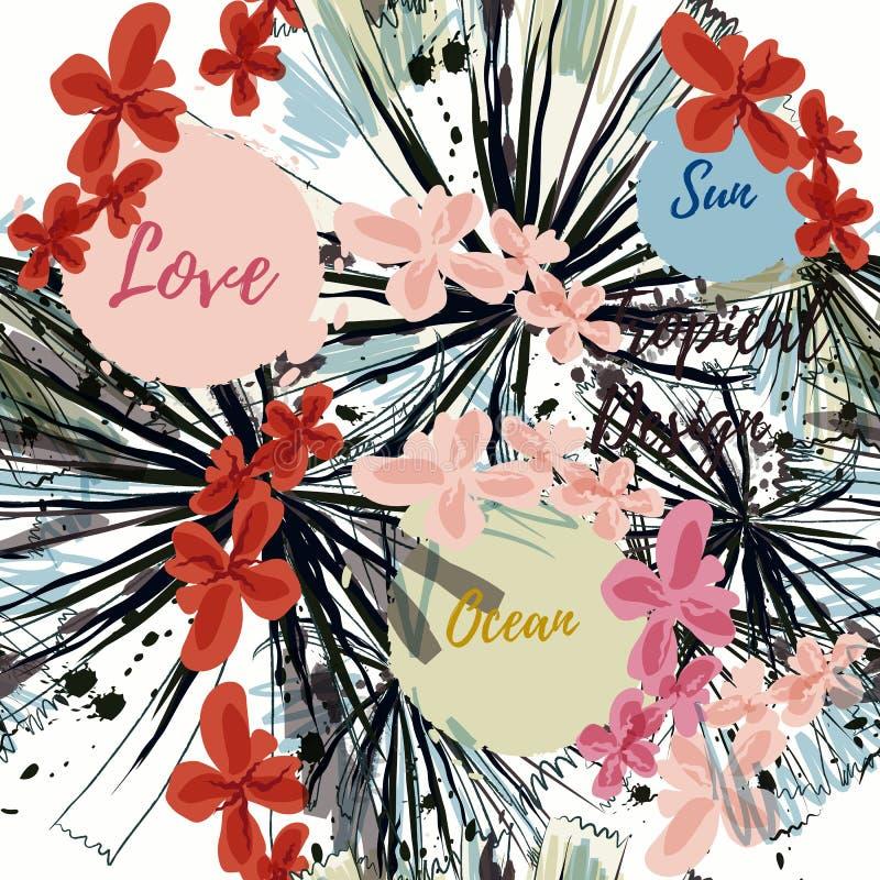 Modèle tropical abstrait avec des feuilles de palmier et des taches Amour, le soleil, illustration libre de droits