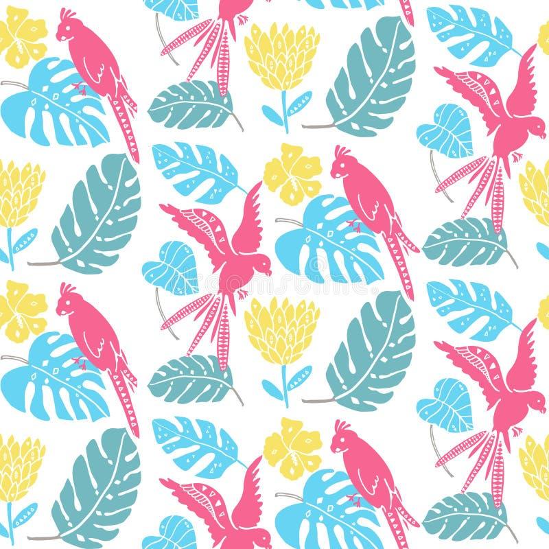 Modèle tropical avec les feuilles tirées par la main, les fleurs exotiques et les perroquets Texture sans couture hawaïenne, conc illustration de vecteur