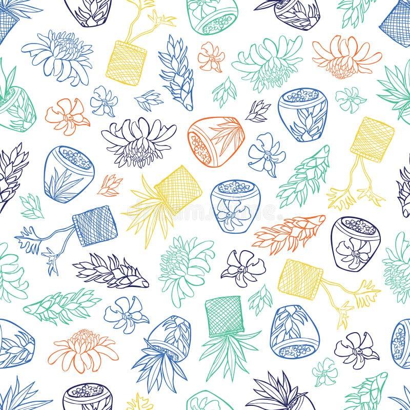 Modèle tropical blanc de vecteur avec des fleurs de gingembre, des plantes de panier et des pots en céramique de style de Bali Pe illustration libre de droits