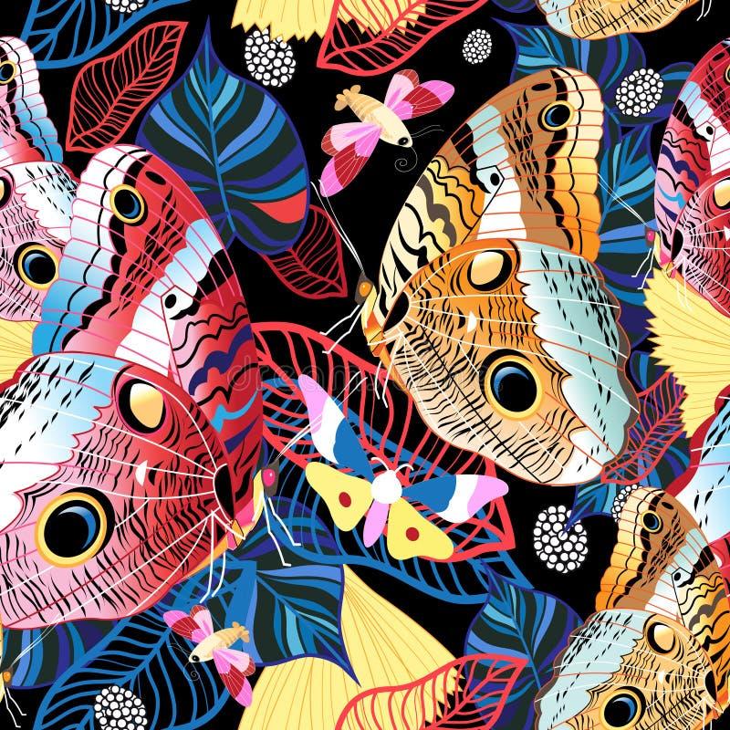 Modèle tropical coloré des papillons exotiques illustration de vecteur
