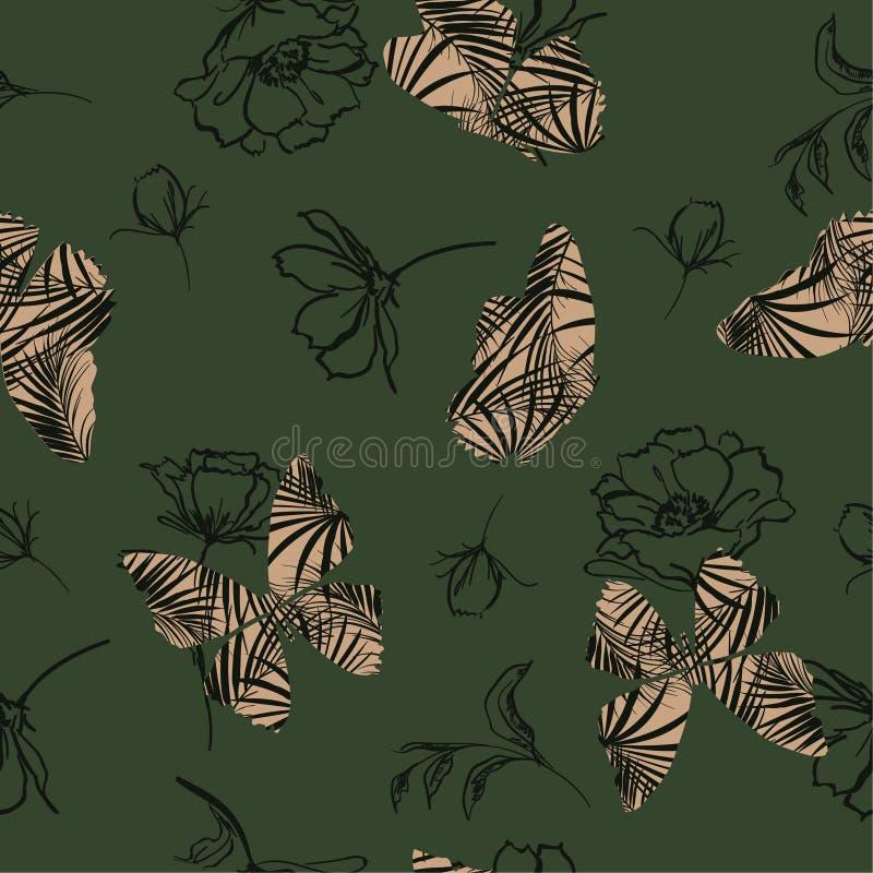 Modèle tropical d'appoint de papillon à la mode pilotant en main le croquis illustration libre de droits