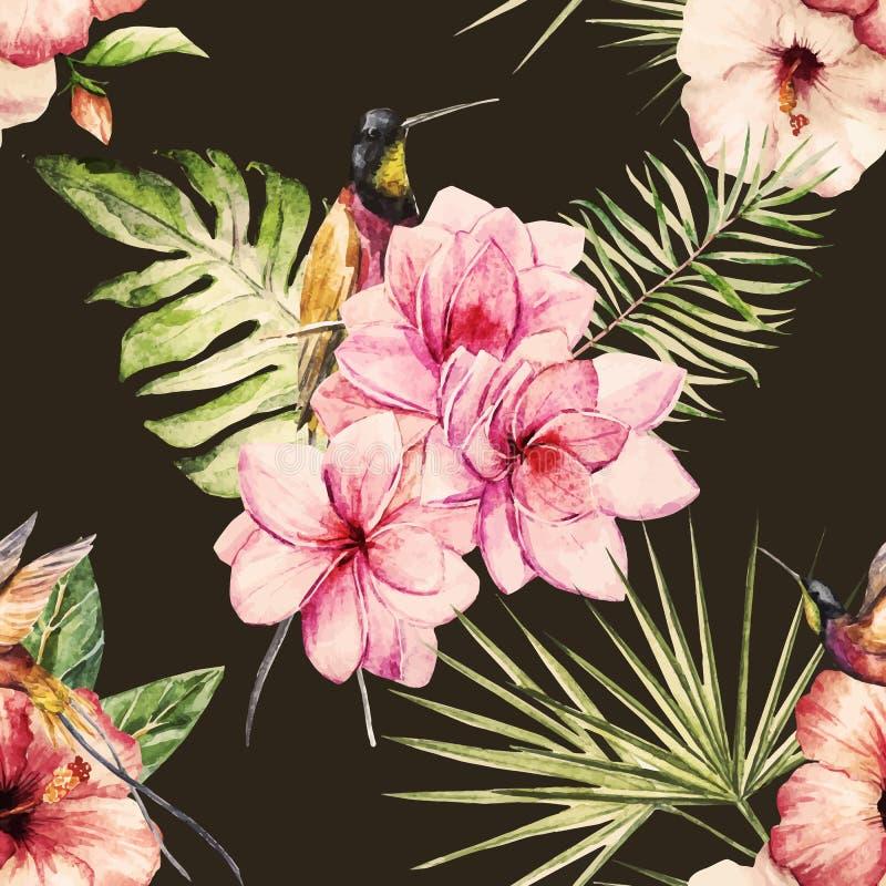 Modèle tropical d'aquarelle illustration de vecteur