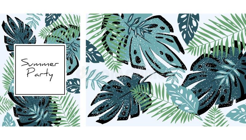 Modèle tropical de feuilles, illustration tirée par la main d'aquarelle Les plantes tropicales impriment Conception d'?t? Fond cr illustration de vecteur