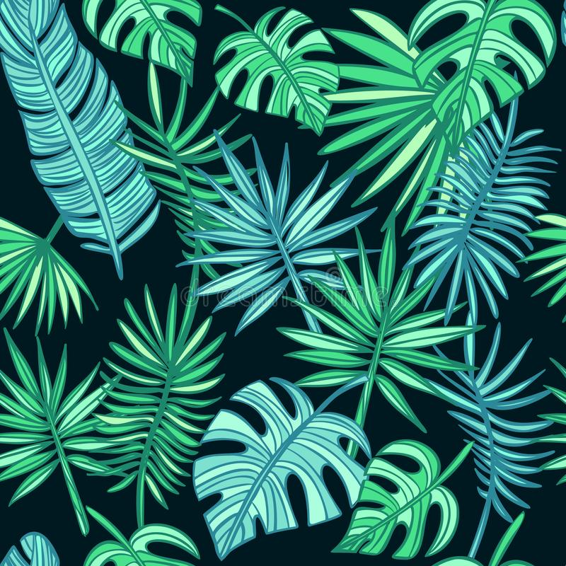 Mod?le tropical de feuilles palmettes tir?es par la main sur le fond fonc? images stock