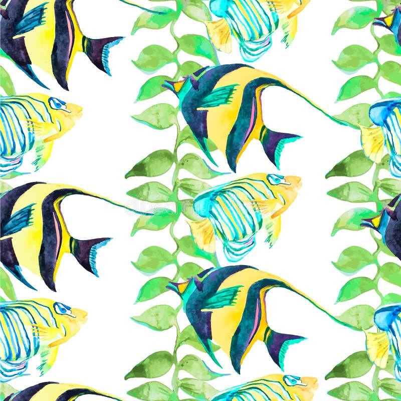 Modèle tropical de poissons Art sans couture de vecteur illustration stock
