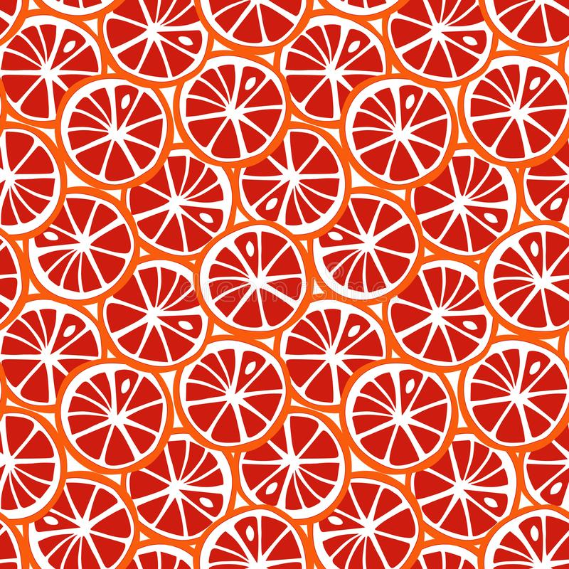 Modèle tropical s d'été de pamplemousse d'agrume orange et rouge de fruit illustration de vecteur