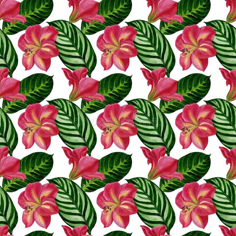 Modèle tropical sans couture de belle aquarelle avec des fleurs et des feuilles Perfectionnez pour des textiles, papier d'emballa illustration stock