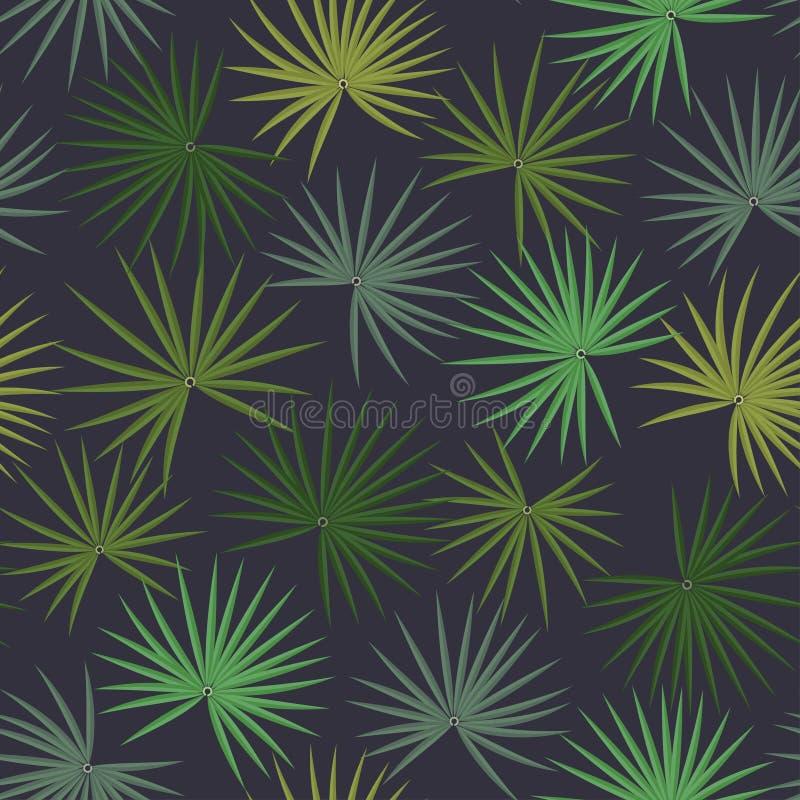 Modèle tropical sans couture, palmettes sur un fond noir illustration de vecteur