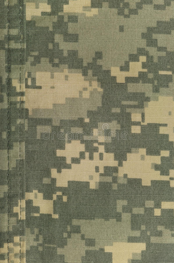 Modèle universel de camouflage, camo numérique uniforme de combat d'armée, double couture de fil, plan rapproché militaire d'ACU  photographie stock libre de droits