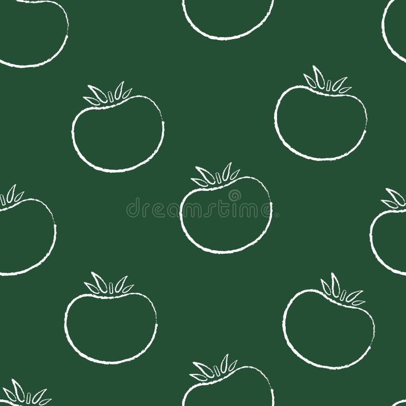 Modèle végétal sans couture de rétro silhoette de craie illustration de vecteur