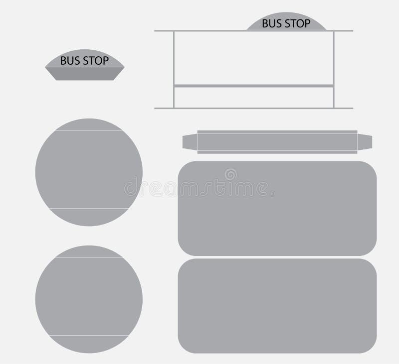 Modèle Vector de papier d'arrêt d'autobus, coupe et colle illustration libre de droits