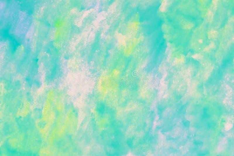 Modèle vert abstrait d'aquarelle avec des taches de peinture Texture, fond clair Aquarelle molle, dessin multicolore Couleur en p illustration de vecteur