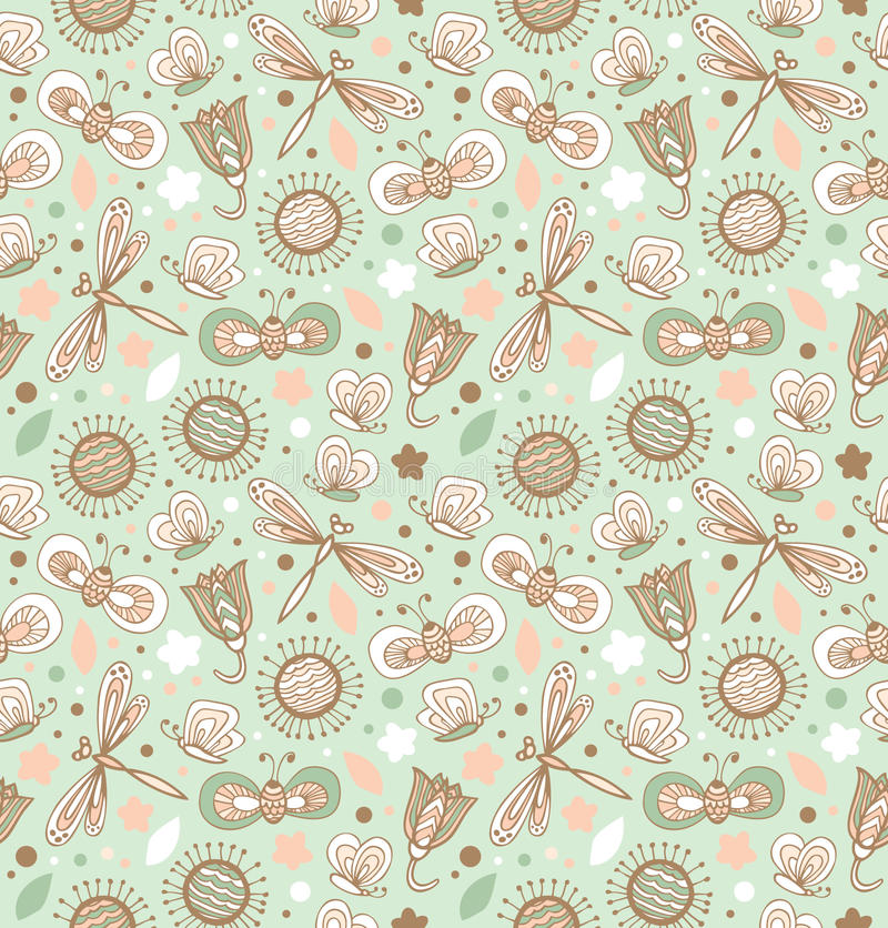 Modèle vert clair avec des fleurs, des libellules et des papillons. Texture sans couture de tissu floral illustration libre de droits