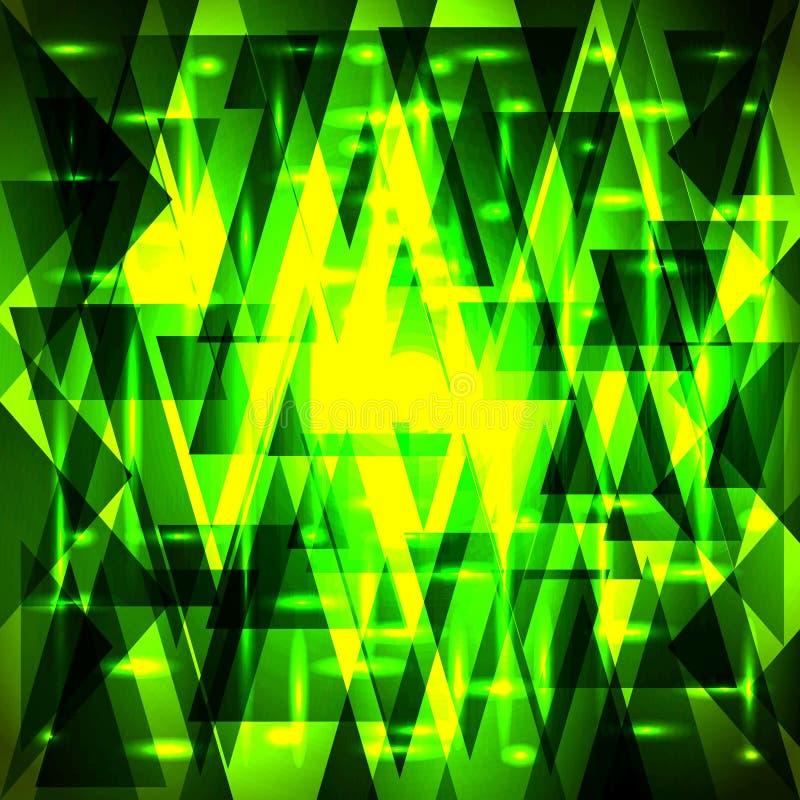 Modèle vert d'or de luxe de vecteur des tessons et des triangles avec illustration stock