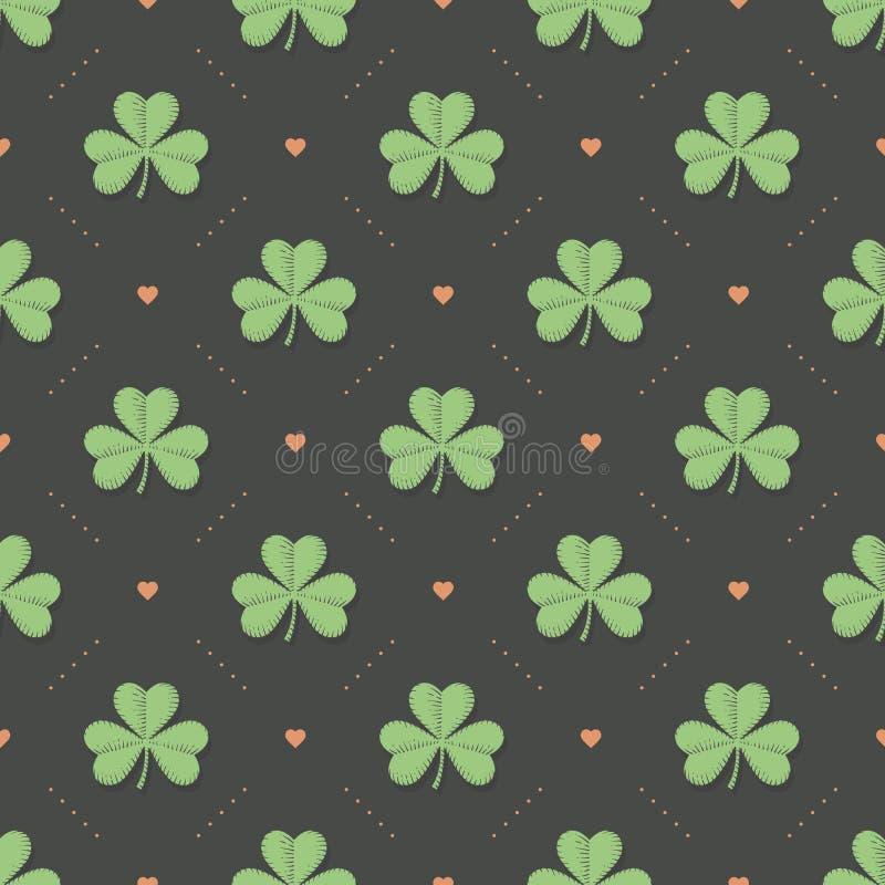 Modèle vert irlandais sans couture avec le trèfle et coeur sur un fond gris-foncé illustration stock
