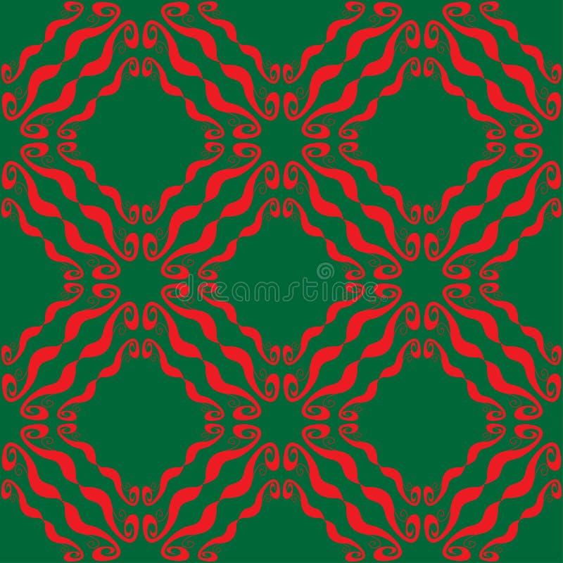 Modèle vert rouge abstrait sans couture illustration stock