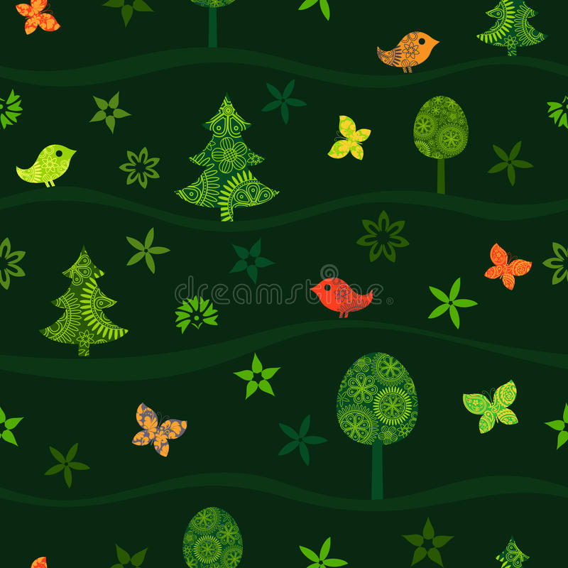 Modèle vert sans couture avec la forêt de féerie sur des collines illustration libre de droits