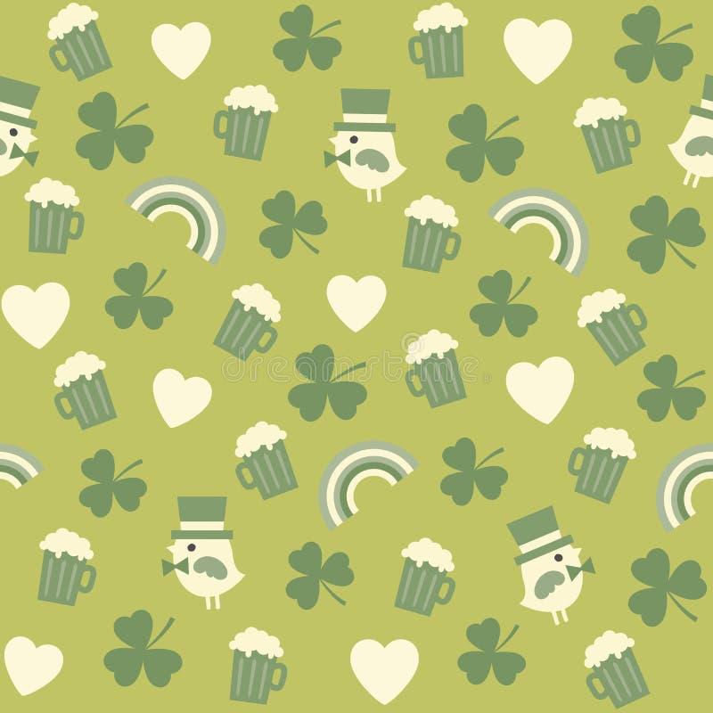 Modèle vert sans couture de fond pour des patricks de St  illustration stock