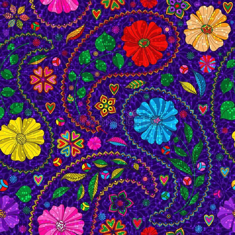 Modèle violet foncé sans couture avec Paisley et fleurs colorées illustration stock