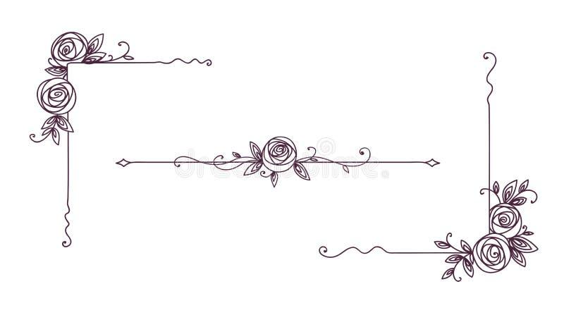 Modèles élégants floraux noirs et blancs Conception de page de couverture Éléments de cru pour schéma décor Contour de fleur de R illustration stock