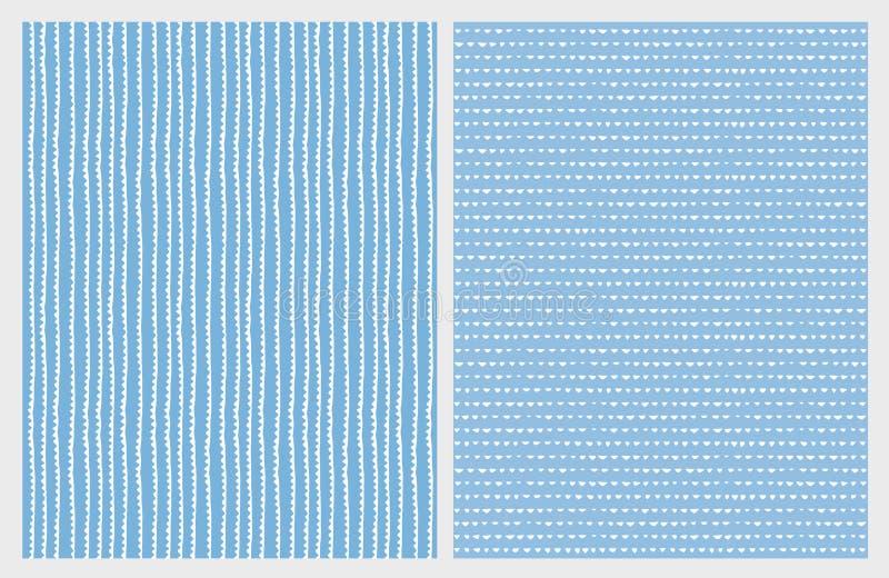 Modèles abstraits tirés par la main de vecteur Lignes blanches et triangles sur un fond bleu illustration libre de droits