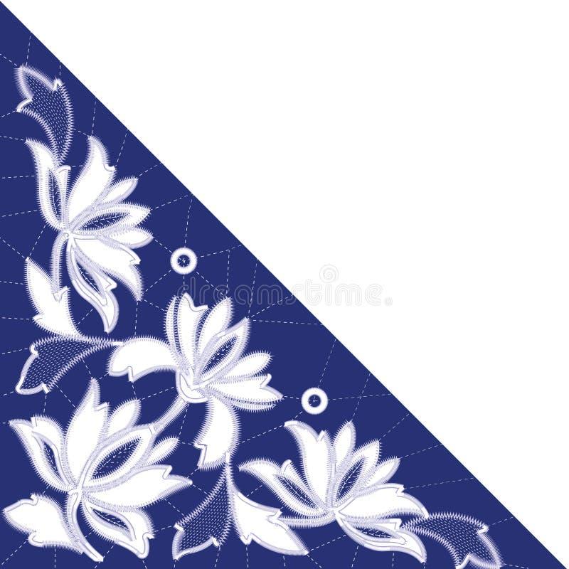 Modèles blancs de broderie de Richelieu sur le fond bleu illustration de vecteur