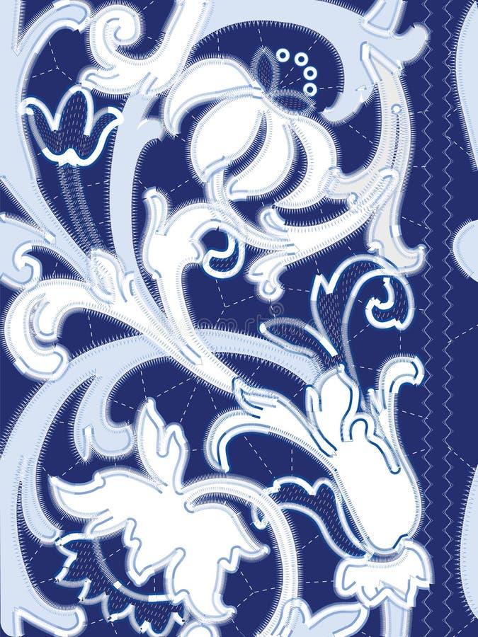 Modèles blancs de broderie de Richelieu sur le fond bleu illustration libre de droits