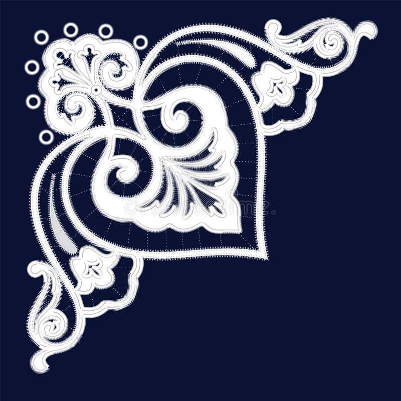 Modèles blancs de broderie de Richelieu sur le fond bleu illustration stock
