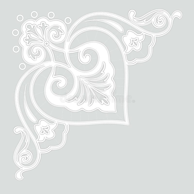 Modèles blancs de broderie de Richelieu sur le fond gris illustration libre de droits