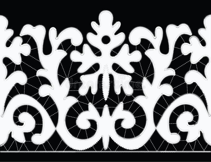 Modèles blancs de broderie de Richelieu sur le fond noir illustration de vecteur