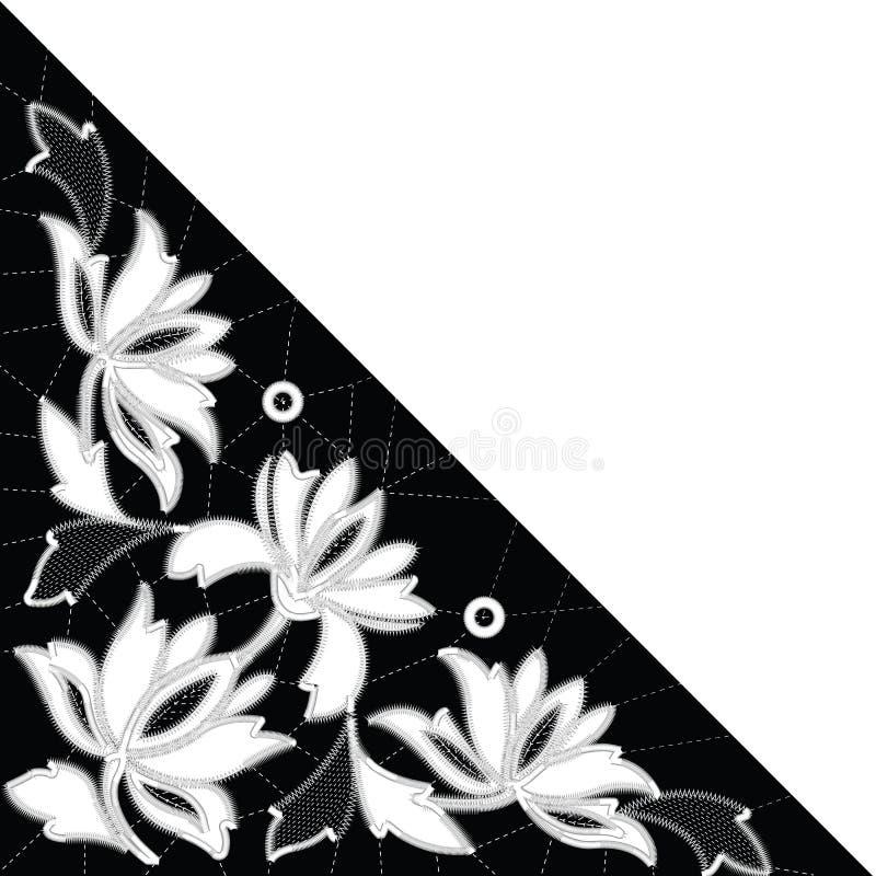 Modèles blancs de broderie de Richelieu sur le fond noir illustration stock