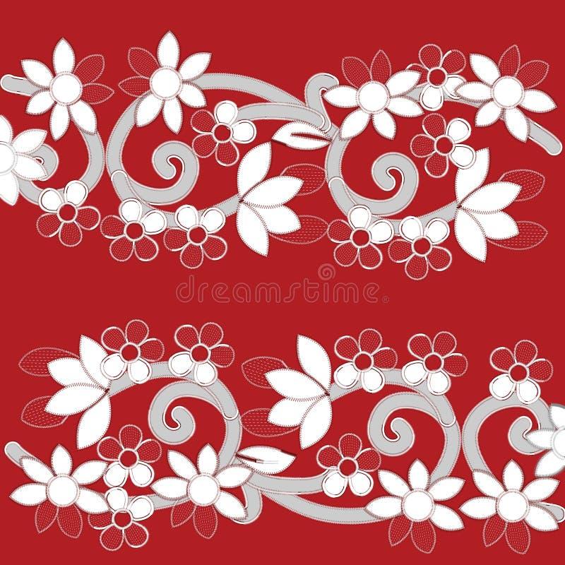 Modèles blancs de broderie de Richelieu sur le fond rouge illustration de vecteur
