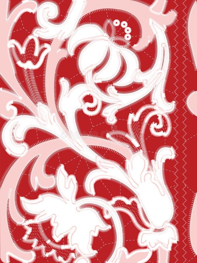 Modèles blancs de broderie de Richelieu sur le fond rouge illustration stock