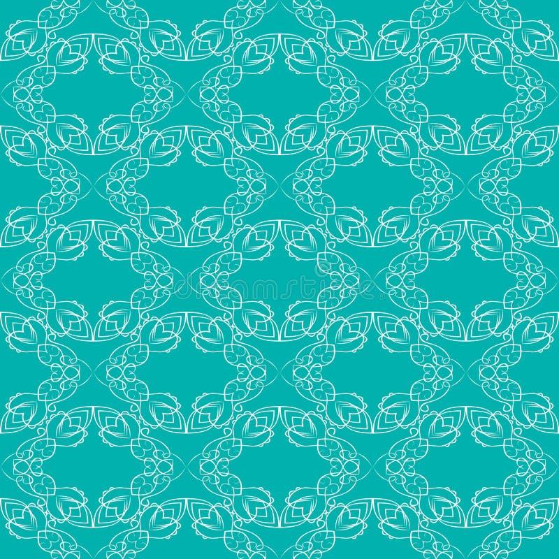 Modèles blancs fins de brocard de vintage sur le fond vert à la mode, fond sans couture avec de rétros modèles de victorian illustration de vecteur