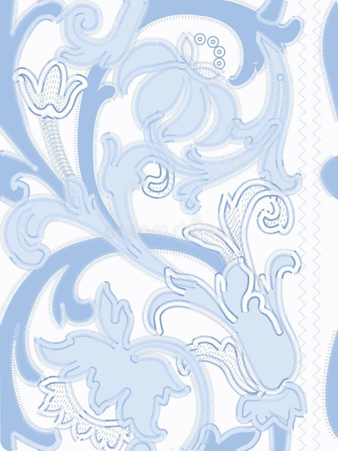 Modèles bleus de broderie de Richelieu sur le fond blanc illustration de vecteur