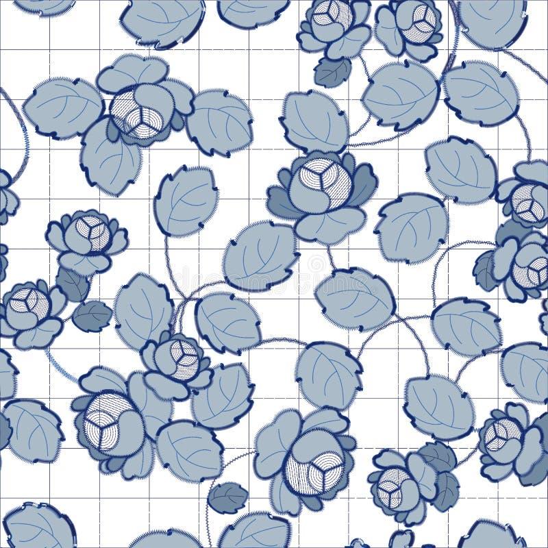 Modèles bleus de broderie de Richelieu sur le fond blanc illustration libre de droits