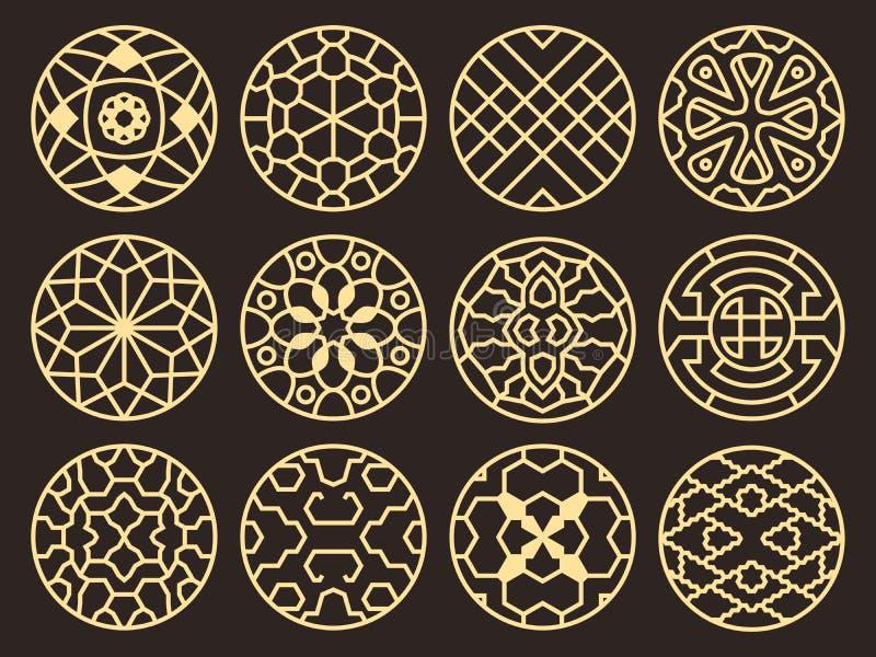 Modèles bouddhistes antiques, ornements et symboles de vecteur traditionnel coréen et chinois illustration de vecteur