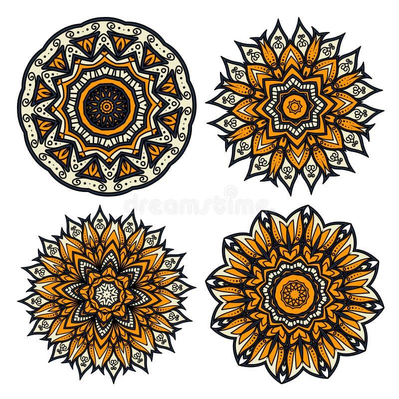 Modèles circulaires floraux des bourgeon floraux jaunes illustration stock