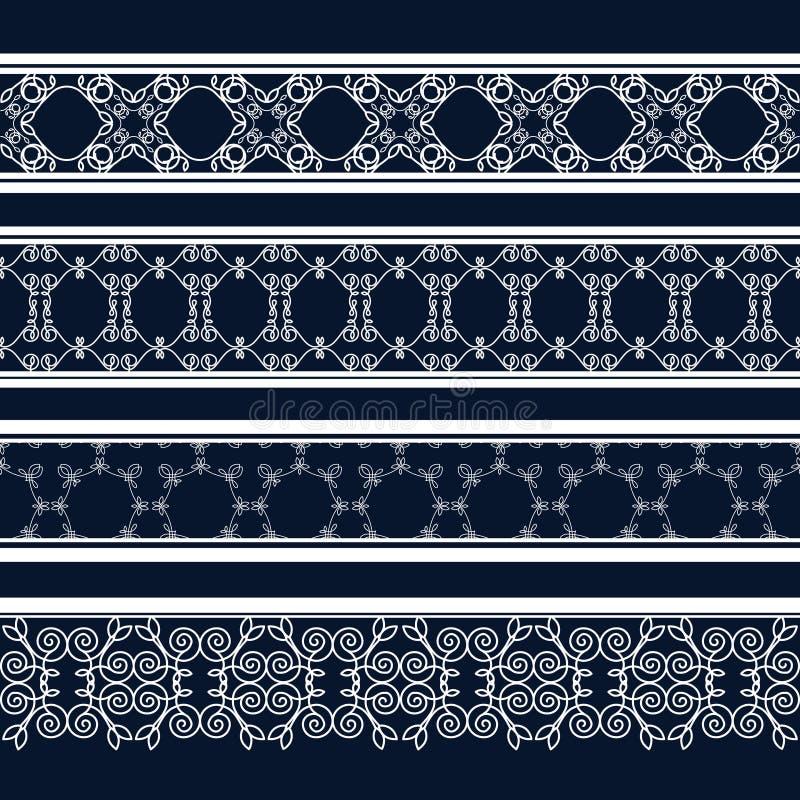 Modèles décoratifs sans couture de vintage sous forme de bandes illustration de vecteur