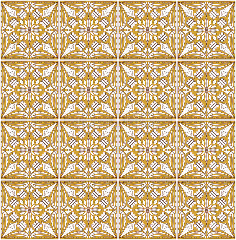 Modèles d'or luxueux fins, ornement géométrique en filigrane de dentelle, tuile avec les éléments fleuris qu'on peut répéter dans illustration stock