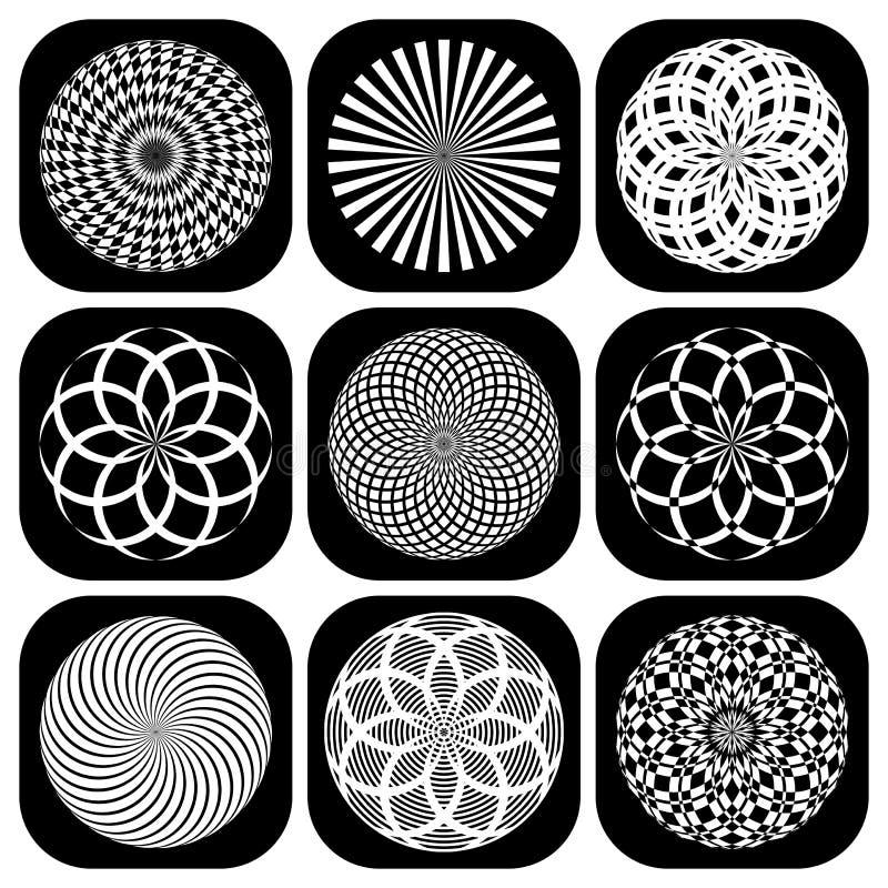 Modèles dans la forme de cercle. Ensemble d'éléments de conception. illustration de vecteur