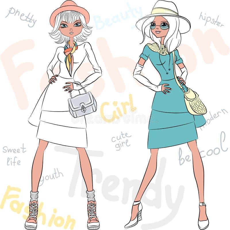 Modèles de belles filles de mode de vecteur premiers illustration stock