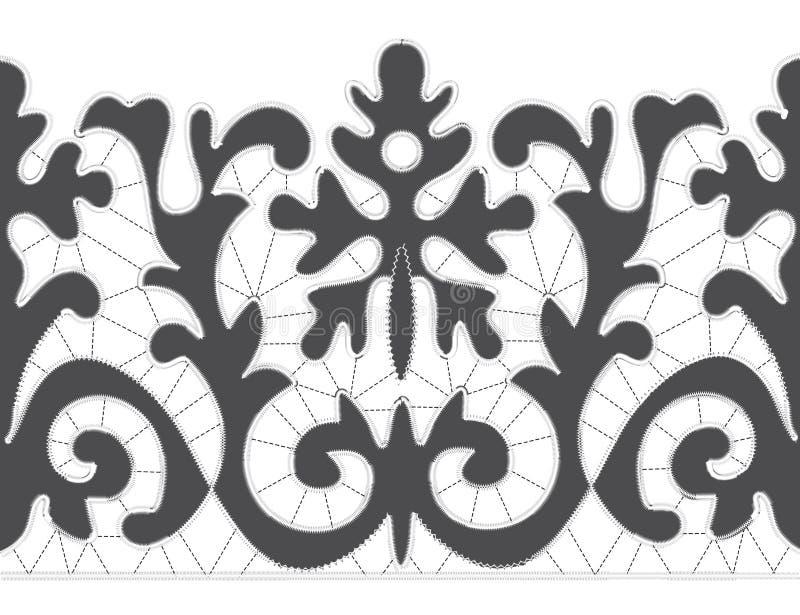 Modèles de broderie de Gray Richelieu sur le fond blanc illustration libre de droits