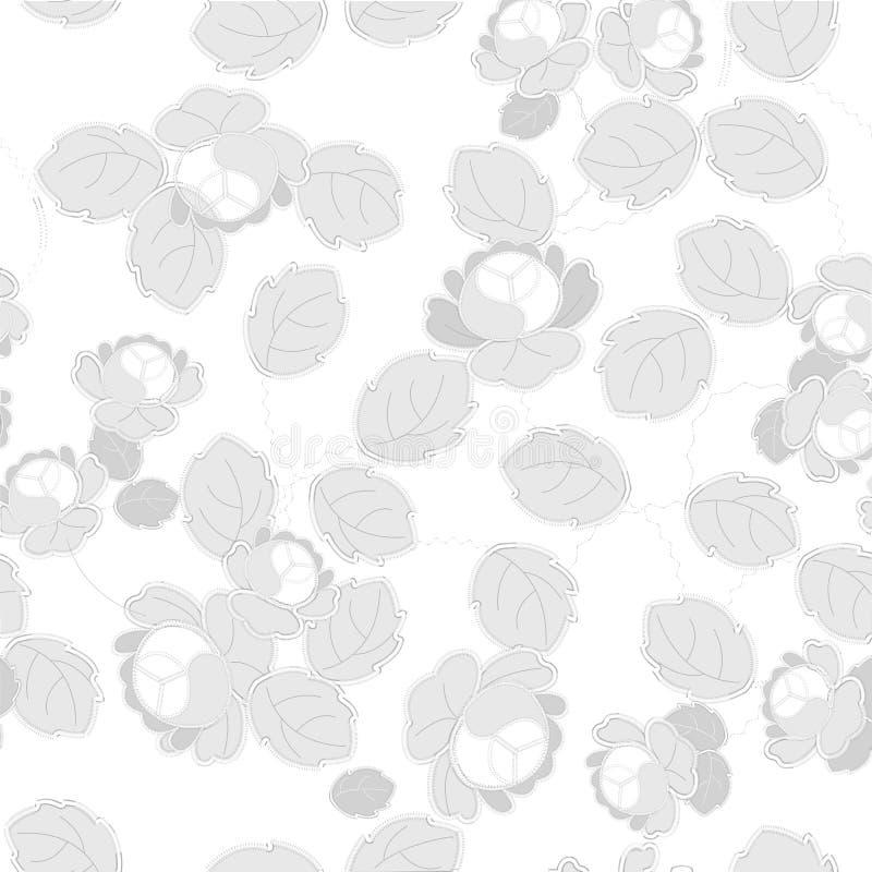 Modèles de broderie de Gray Richelieu sur le fond blanc illustration stock