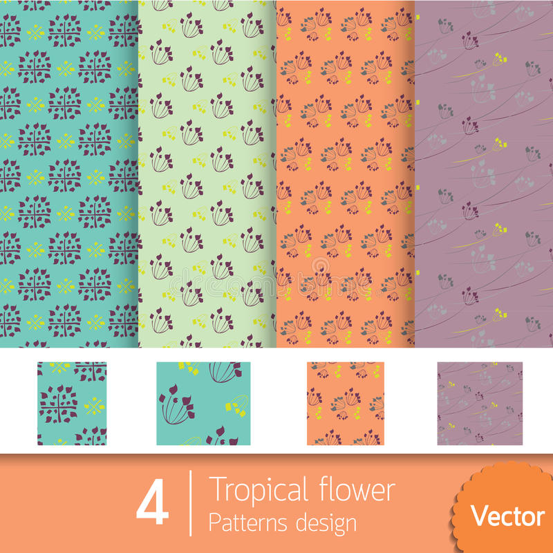 4 modèles de conception tropicale avec des couleurs du ton illustration de vecteur