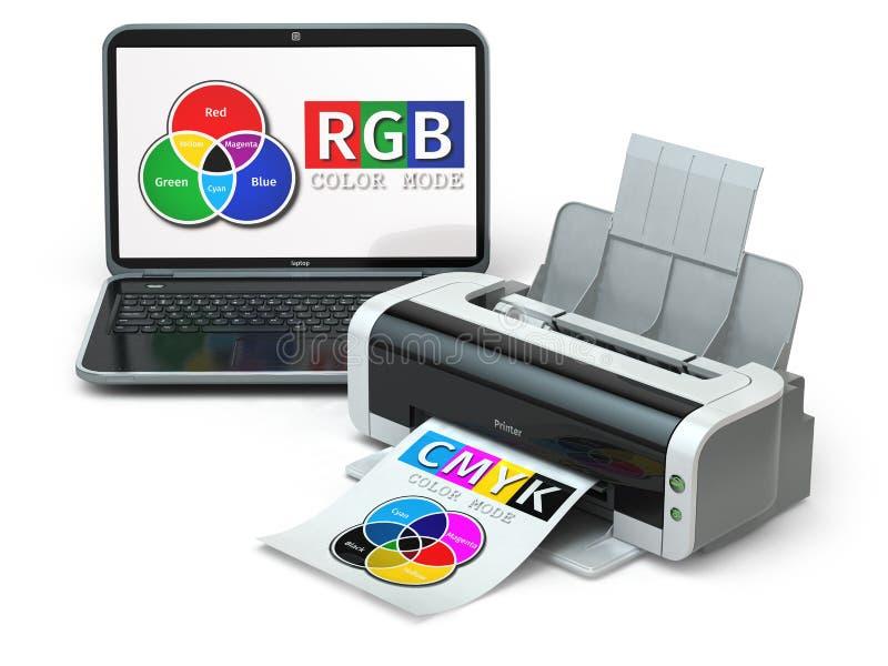 Modèles de couleur de CMYK et de RVB Ordinateur portatif et imprimante illustration libre de droits
