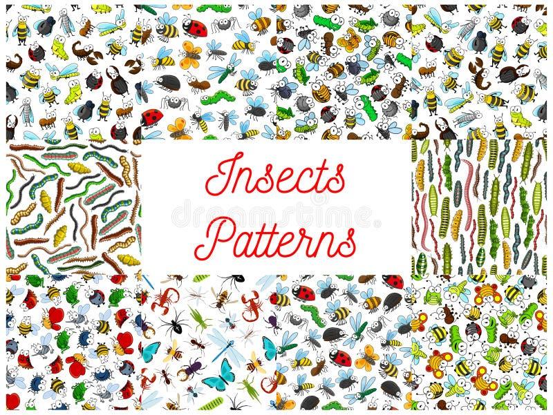 Modèles de modèle de bande dessinée d'insectes et d'insectes illustration libre de droits